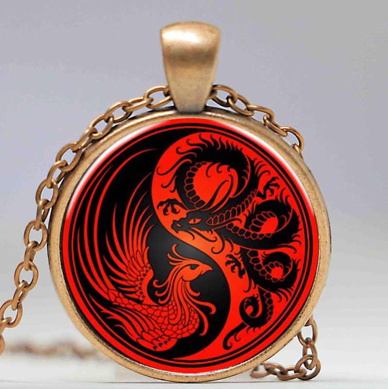 Collares de cabujón de cristal colgante de Tai Chi, collar llamativo de dragón Fénix, cadena Yin Yang, joyería china, Gargantilla con estilo