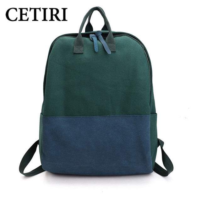 39b2703258 CETIRI Canvas Backpack Green Blue Patchwork Large School Bag Travel  Backpacks Teenage Girls Fashion Top Trends Back Pack Sac Dos