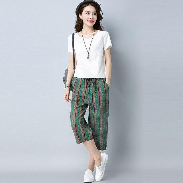 74fae86487b 2018 Summer New Fashion Summer Cotton And Linen Suit Women Cropped Pants  Fashion Linen T-shirt Two-piece M-XXL