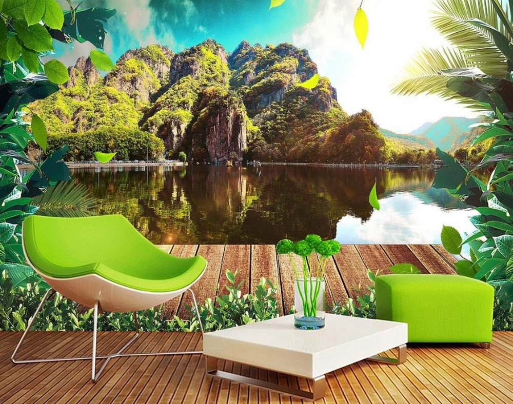 Custom 3d mural wallpaper for living room Black and white beauty simple landscape trees background luxury-wall-paper custom baby wallpaper snow white and the seven dwarfs bedroom for the children s room mural backdrop stereoscopic 3d