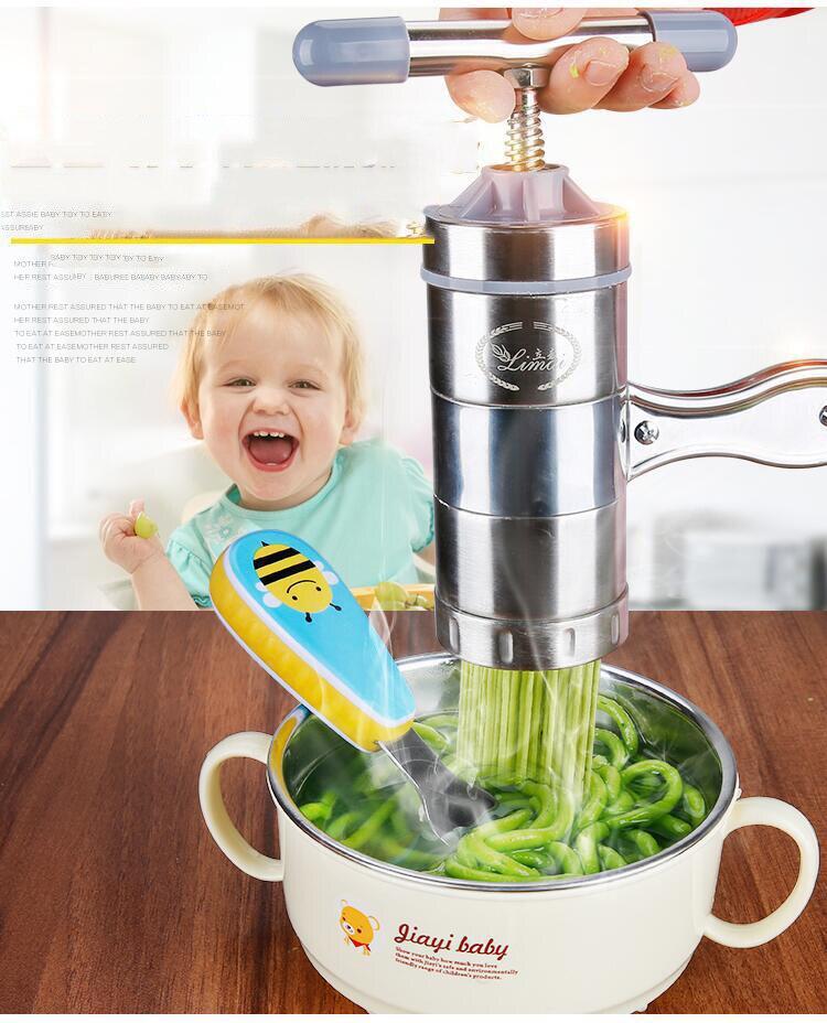5 modus Rvs Pasta Noodle Maker Machine Handgemaakte Noedels Druk Spaghetti Machine Para Hacer Noedels Fruit Druk-in Elektrische Noodle maker van Huishoudelijk Apparatuur op