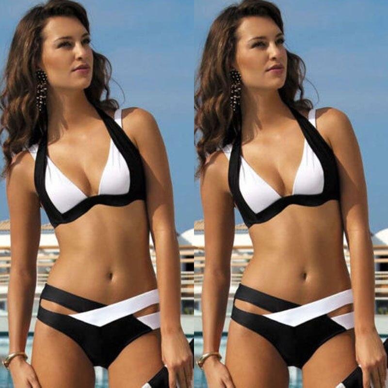 Women Bandage Cross Bodycon Bikini  Black And White Ladies Swimwear