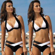 2016 New Design Sexy Women bandage Cross Bodycon Bikini  Black and White Ladies Swimwear
