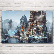 Artwork Science Fiction Robot Mountains Steampunk Art Silk Poster Print Home Decor Painting 12×19 19×30 22×35 Inch Free Shipping