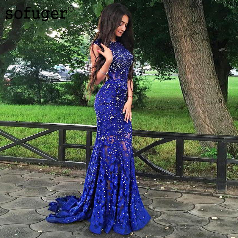 Blue Blingbling Lace Sexy Mermaid Backless Evening Floor Length Vestidos De Festa Scoop Prom Dresses Party Evening Dress