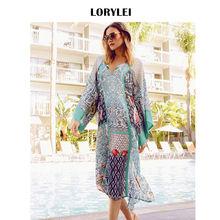 172e2aa34b9 Summer Women Beach Fashion Green Print Side Split Cotton Midi Dress  Swimwear Cover Up Tunic Beach Sarong Saida de praia N636