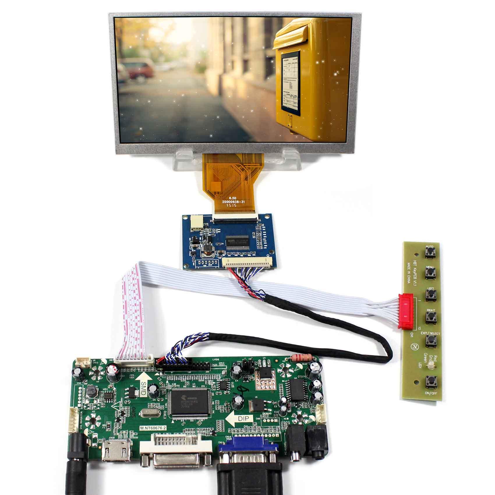 """6,5 """"ЖК-дисплей AT065TN14, 6,5 дюймов 800x480 ЖК-экран работает с VGA DVA HDMI Комплект управления"""