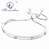 Slovecabin Original 925 Sterling Silver 2018 Valentines Day Gift Love Pink Heart ZC Silver Adjustable Open