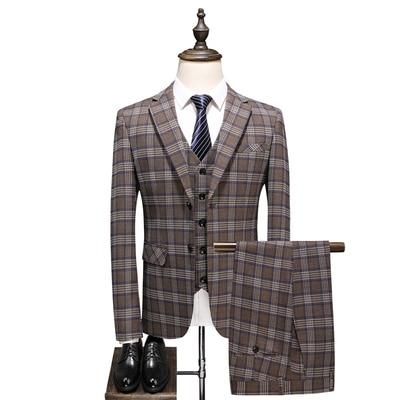 Men Formal Suit Tuxedo 3 Pieces Suit  Men Wedding Terno Masculino Slim Fit Khaki Plaid Costume Homme Groom Suits Traje 2019