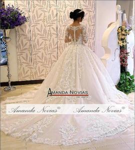 Image 2 - robe de soiree full lace long sleeves wedding dress with nice back amanda novias