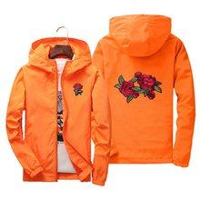 2f27406f0abf Unisex uomo donna carino rosa del ricamo giacche Europa Russia primavera  autunno Bella stile casual orange rosso della chiusura .