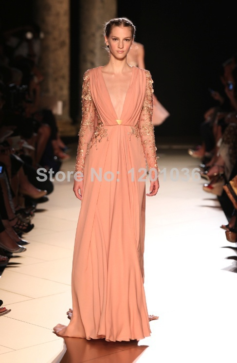 2015 Elie Saab Dresses For Sale Evening Dresses A line V neck Long ...
