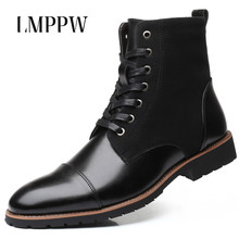 New 2019 Men Leather Boots Fashion Autumn Winter High Top Lace Up Boots Waterproof Warm Men Ankle Boots Brand Male Shoes new italy designer artificial leather men ankle shoes autumn winter warm high top stamping pattern lace up man black punk shoe