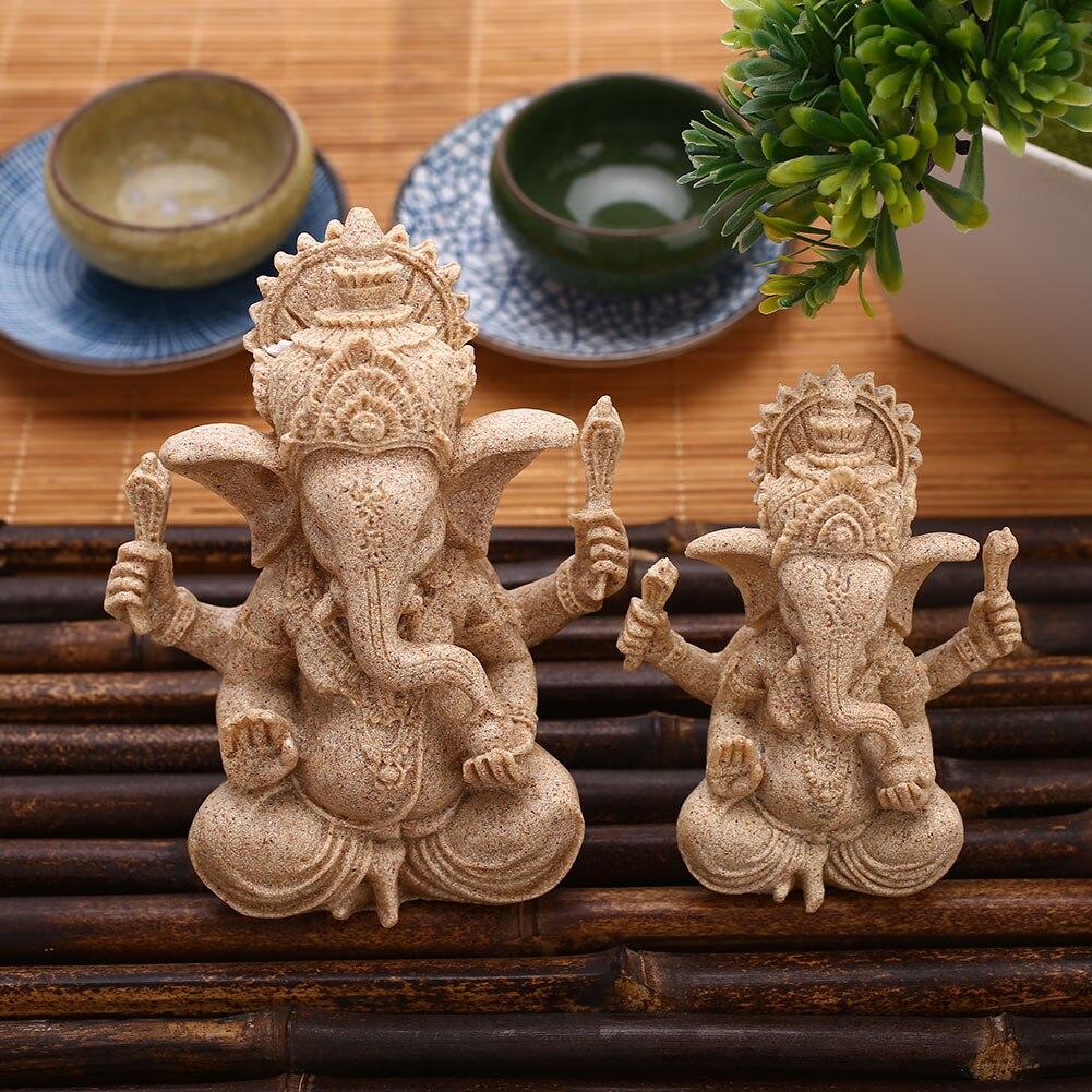Ganesha Buddha Statue Sandstone Elephant Home Decor ...
