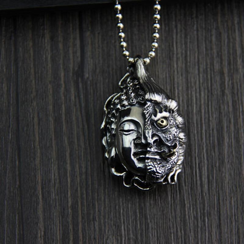 JINSE argent Sterling bouddha magique une idée entre pendentif mâle Benming ans collier pendentif bijoux 27*44 MM 33G