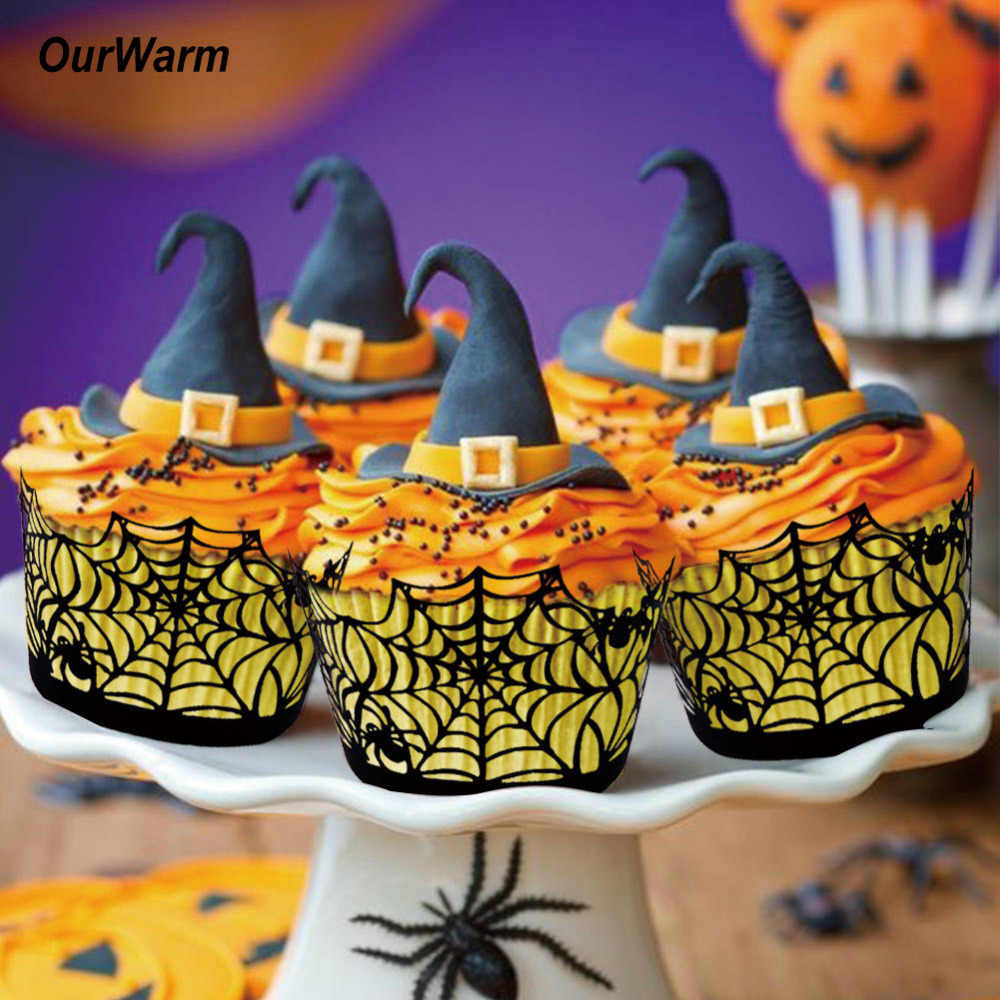 OurWarm 12pcs Cupcake Wrappers Witch Castle Spider Hollow Case Cake Cover Birthday Horror Halloween Party Supplies Decoration