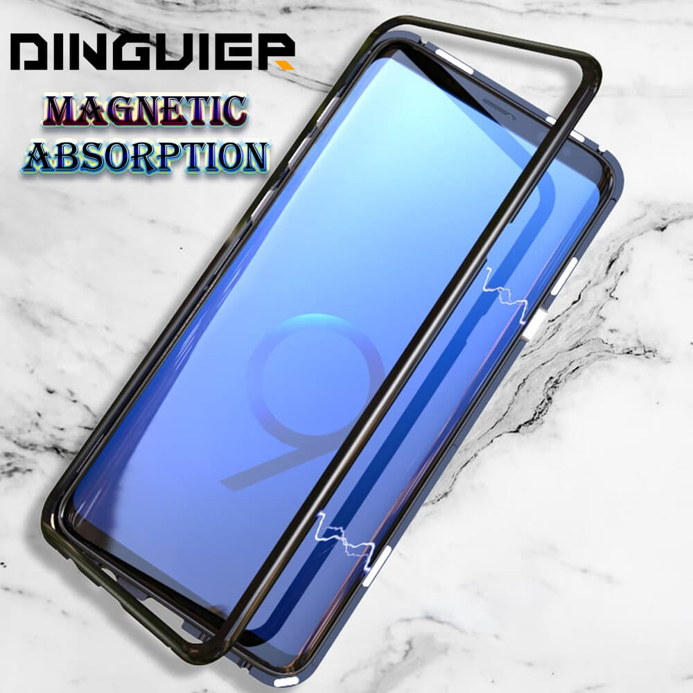 DINGUIER Magneto Magnetic Absorption Protective Hard Case for Samsung Galaxy S8 S8 Plus Back Tempered Glass Metal Bumper Cover