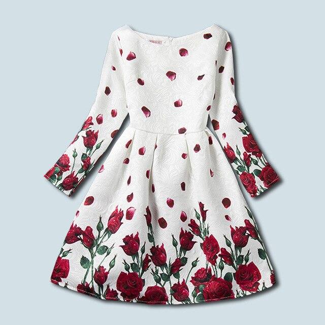 Girl dress NEAT o-neck cotton zipper girl clothes rose print princess dress banquet dress girl long sleeve dress 5-9Y F0074