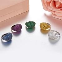 Newest Real 925 Sterling Silver AAAAA Class White CZ Fancy Colors Choose Rings Luxury Women Cubic Zirconia Ring In Ball Shape