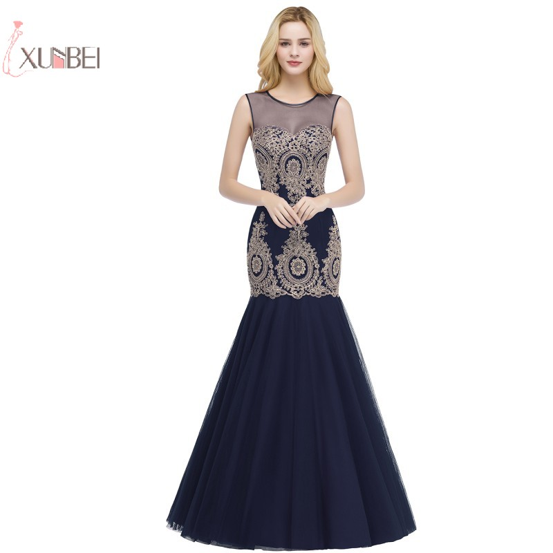 Luxury 2019 Tulle Long Mermaid   Prom     Dresses   Sleeveless God Applique   Prom   Gown Gala Jurken