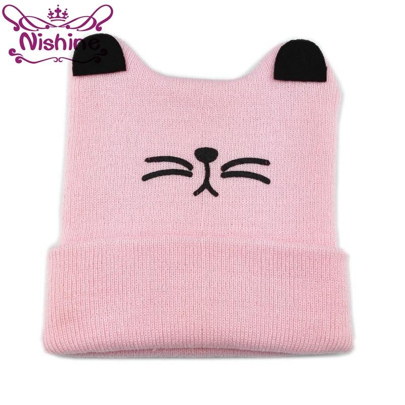 Nishine 1PCS Cute Knitted Baby Cat Hats Milk Smile Face Crochet Baby Caps   Beanies   Toddler Winter Warm Hats Newborn Shower Gift