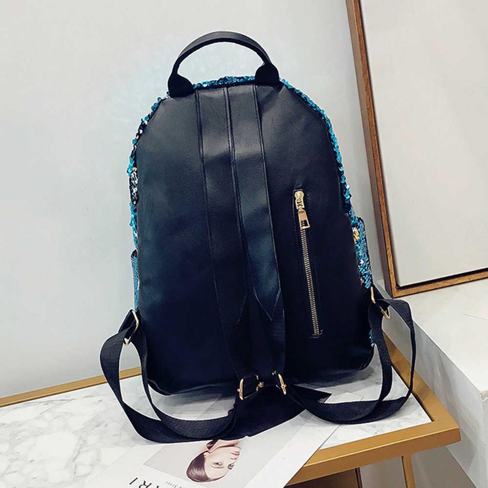 Блестящие пайетки Искусственная кожа модные женские рюкзак большой Ёмкость дорожная сумка