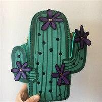 Kawaii Flower Cactus Leather Small Women Messenger Bag Korean Green Mini Girls Crossbody Cross Body Bag