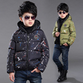 NEW Winter kids hooded jacket  baby boy clothes  6-9-13 years boy coat print full  casual clothes kids clothes blue coat parkas