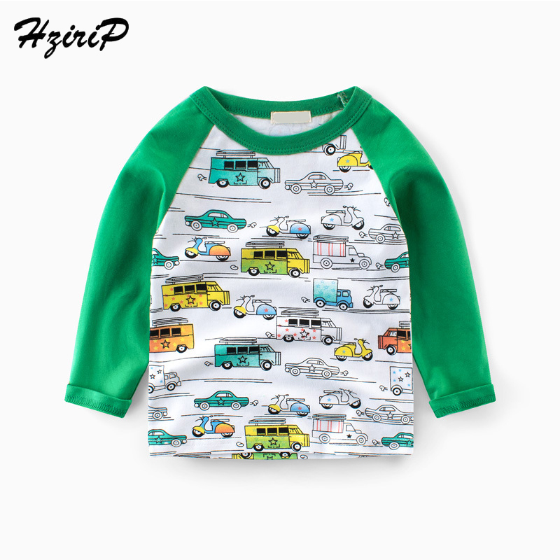 HziriP Kids Boys Girls T-shirt Spring Autumn Children Tee Long Sleeve Stitching Cotton Cartoon Cars Shirt Baby Clothes Fit 2-7 Y