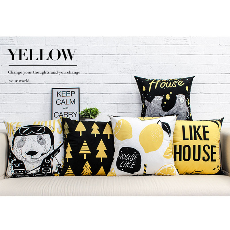 Pillow Case Cover Yellow Black Cartoon Home Pillowcase