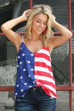 Fashion Summer Womens Ladies Sleeveless Deep V Neck American Flag Print Tops Casual T Shirt Tee