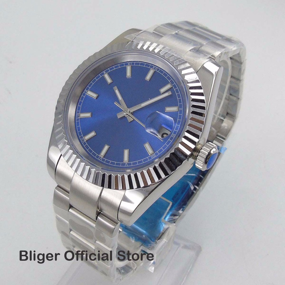 Luxury Fashionable Sapphire Glass 40MM Nologo Sterial Blue Big Face Dial Men s Watch Date Diaplay