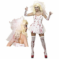 Women Zombie Costumes Corpse Bride Halloween Costume Fancy Party Dress Carnival Ghost Vampire Bride Zombies Roleplay