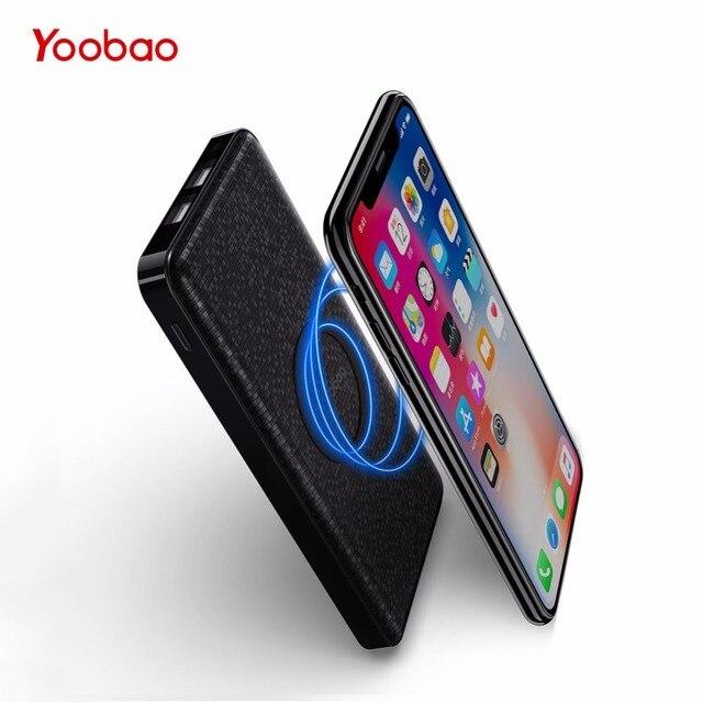 Yoobao Беспроводной Мощность Bank 5000 мАч для iPhone X 8 Универсальный Портативный Qi Зарядное устройство Внешний Батарея для samsung S8 S7 S6 телефон