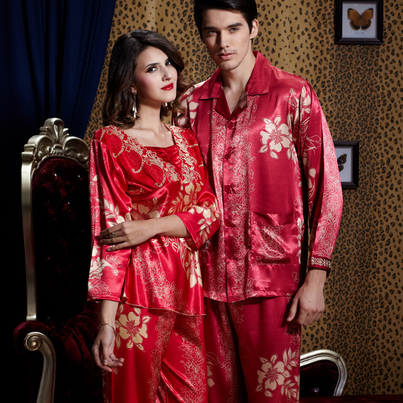 Spring lovers' pajamas summer robes womens silk nightgown wedding red long sleeved home clothes men's red silk loungewear