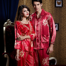 Spring lovers pajamas summer robes womens silk nightgown wedding red long sleeved home clothes mens loungewear