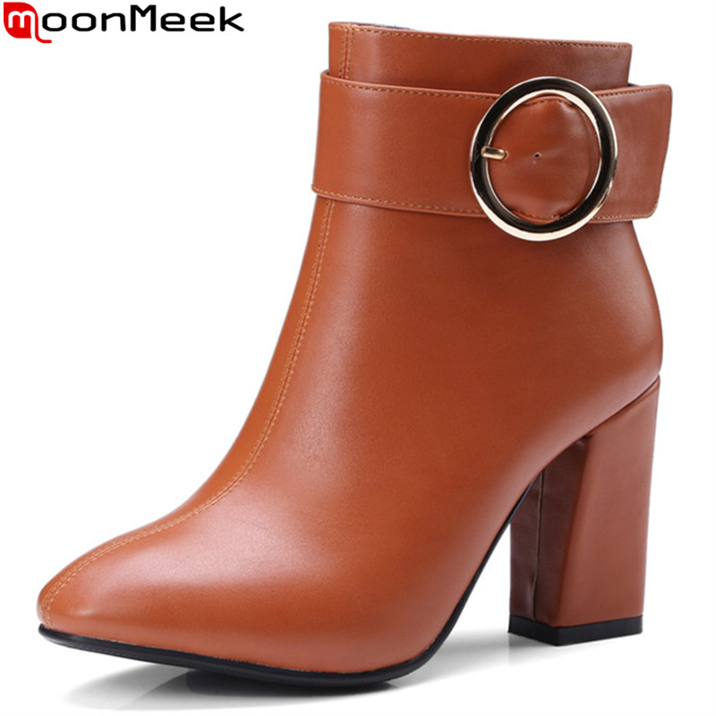 MoonMeek 2018 new arrive women boots black white zipper buckle ladies boots square toe autumn winter ankle boots big size 34-43 цена и фото