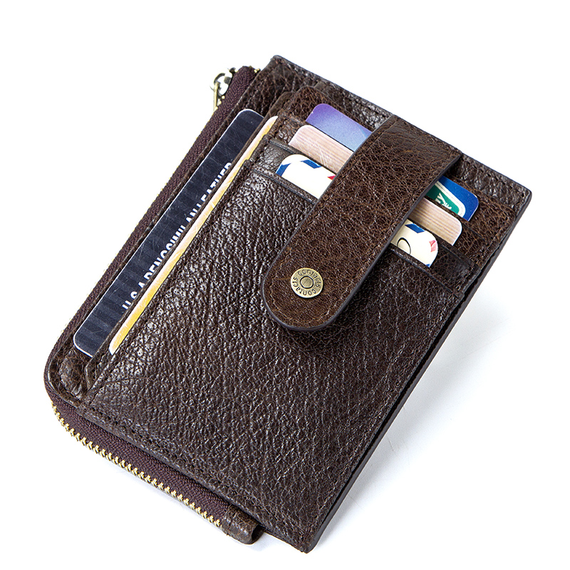 CONTACT'S genuine leather credit card holder Rfid vintage male coin pocket purse mini wallet porte carte business card holders 1