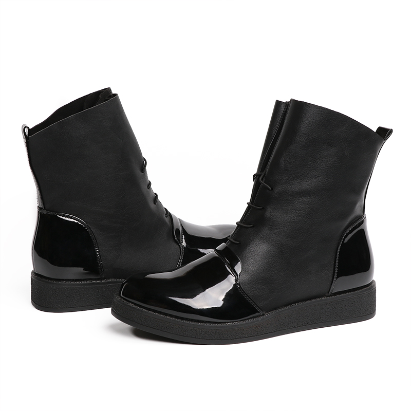 AIMEIGAO Fashion Spring Autumn Women Boots Patent PU Leather Platform Woman Shoes Plus Size Boots For Women Botas Mujer (27)