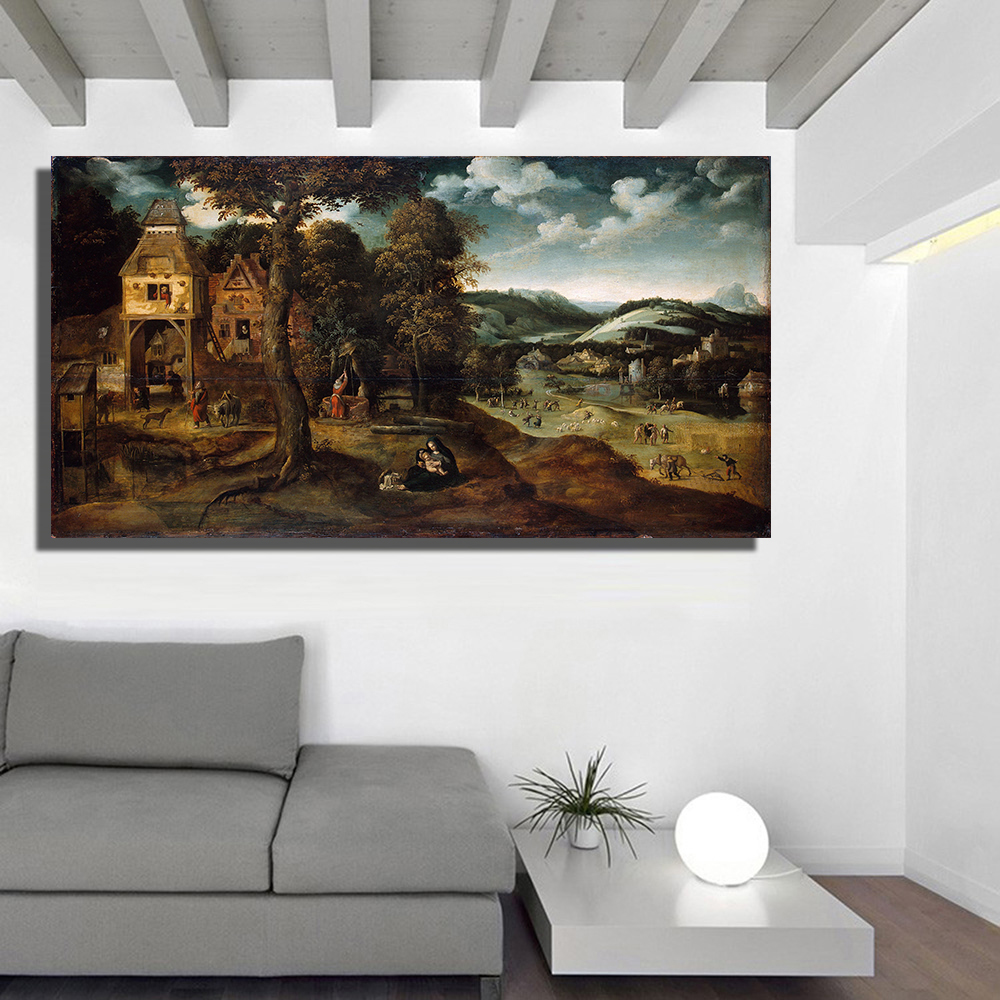 landscape oil paintings canvas promotion shop for promotional qk art frameless landscape with the flight into egypt oil painting canvas wall pictures for living room home decor posters