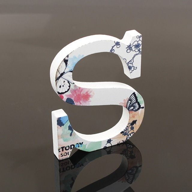 10cm A-Z Wooden English Letters White Butterfly Alphabet Ornaments Decoration Crafts Wood Letter Wedding Decorative Numbers 5