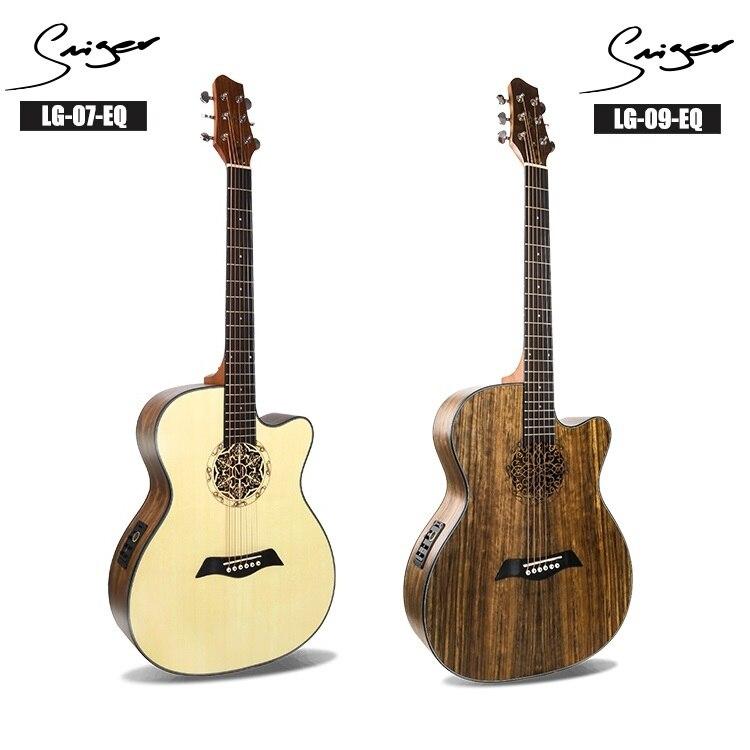 Guitares guitare acoustique électrique 40 pouces a-body coupé Folk Pop personnalisé pick-up gravure processus complet noyer épicéa bois couleur
