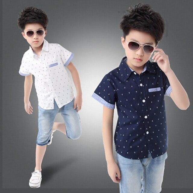 2018 font b Baby b font 3 10 years Boys Shirts Boy Shirt Short Sleeve School