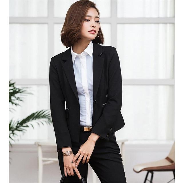 Custom Black Wedding Tuxedo Female Office Uniform Elegant Pant Suits 2  Piece Set Women Trouser Suit Slim Lady Trouser Suit cf797db1b5b4
