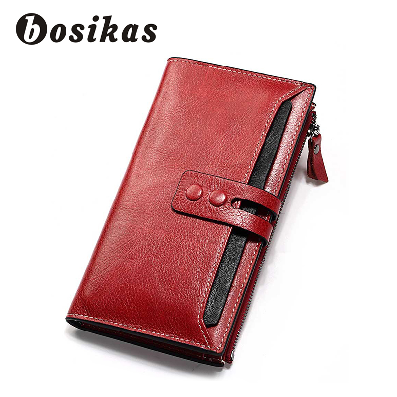BOSIKAS Genuine Leather Women Wallet Lady Long Female Coin Purse Clamp For Money WomenS Clutch Handy Fashion Red
