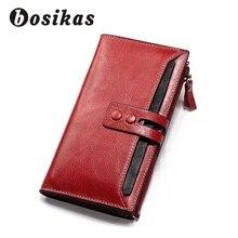 BOSIKAS Genuine Leather Women Wallet Lady Long Wallet Female Coin Purse Clamp For Money Women'S Purse Clutch Handy Fashion Red недорого
