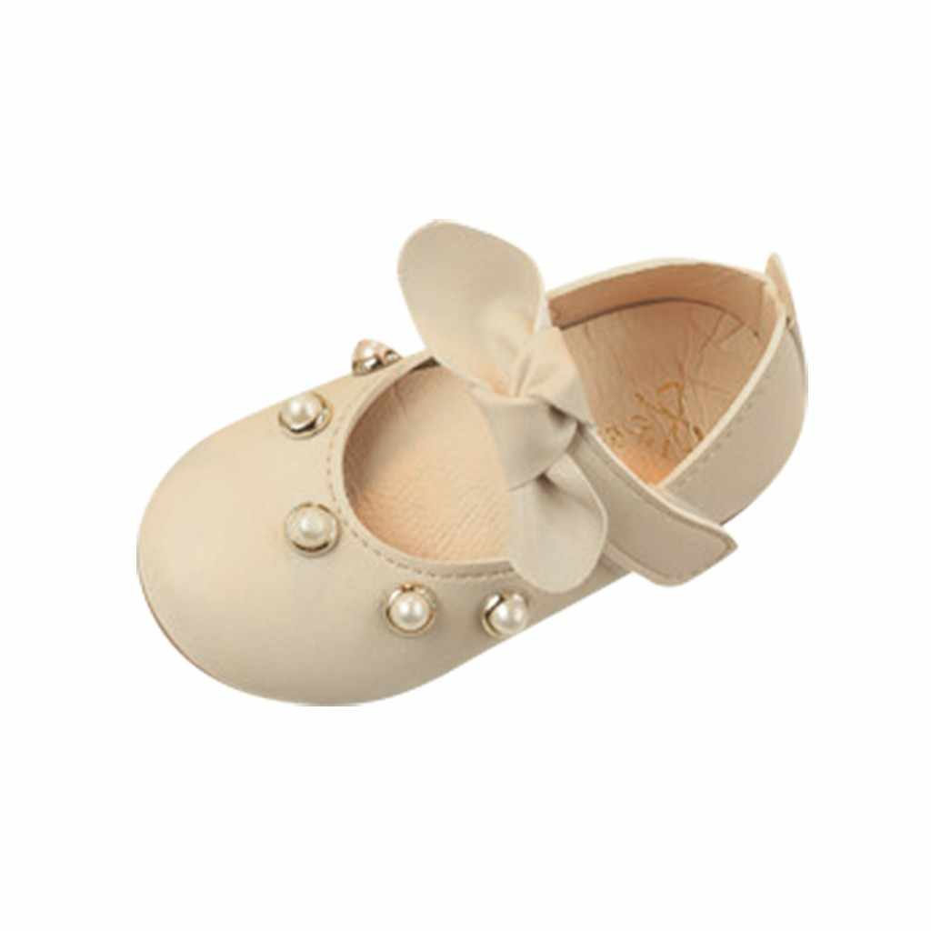 Infant Kids Baby Girls Elegant Bowknot Pearl Single Princess Casual Shoes