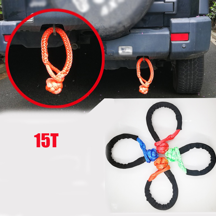 15T 3/4 Breaking Strength Soft Shackle UHMWPE Shackle With Sleeve For Jeep Offroad Accessories Towing Ropes Recovery Kits