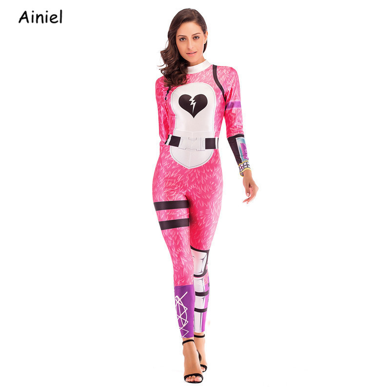 Women Game Fortnight Game Cosplay Costume Pink Bear Rose Team Leader Zentai Bodysuit Jumpsuits Halloween Costume for Adult Women