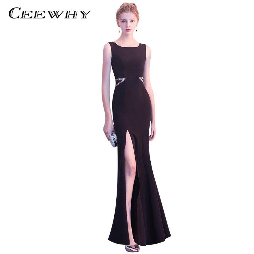 CEEWHY Split noir robes de bal longue Robe de soirée en cristal Robe de soirée sirène Robe de bal formelle Robe de soirée pour les femmes